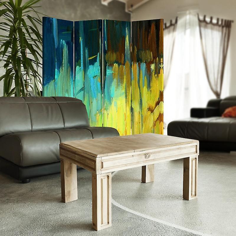 Diviseur de chambre, 4 panneaux, toile, résumé de paysage 2