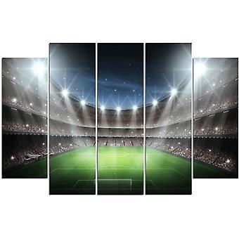 Cinque parti immagine su tela, Pentaptych, tipo B, uno stadio di calcio sotto i riflettori