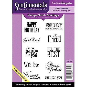 Crafter-apos;s Companion Vintage Floral Collection A6 Sentimentals Rubber Stamp Set Salutations