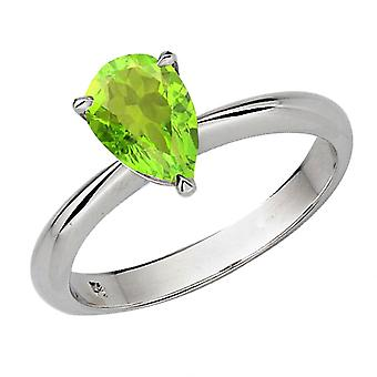 Dazzlingrock collectie 18K 8X6mm Pear Cut Peridot Solitaire Bridal Verlovings ring, wit goud