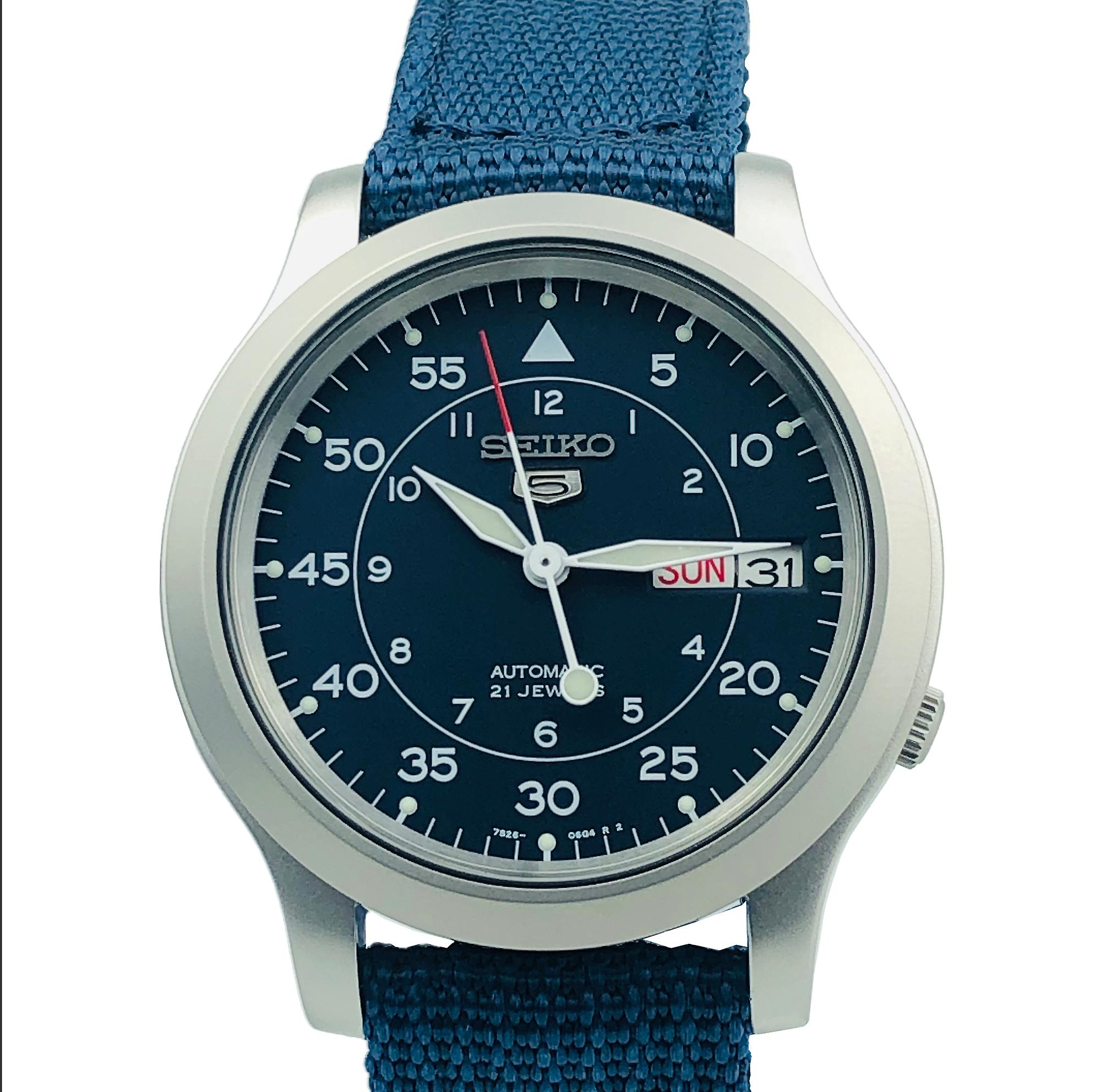 Seiko 5 Automatic Blue Dial Military Style NATO Canvas Strap Mens Watch