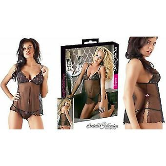 Cottelli Collection Sexy Black See Through Babydoll Set with String