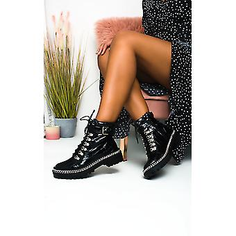 IKRUSH Womens JoJo Chain Detail Lace Up Ankle Boots