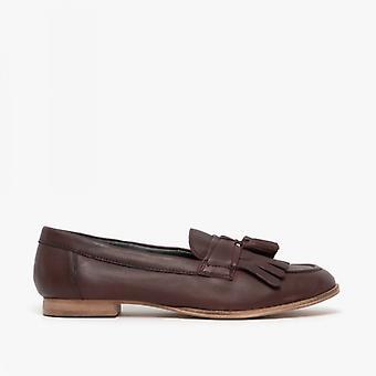 Comfort Plus Fringe Ladies Leather Loafers Burgundy