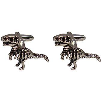 Bassin and Brown Dinosaur Cufflinks - Silver