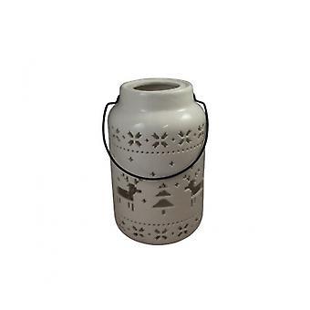 Sil White Ceramic Reindeer Lantern Candle Holder