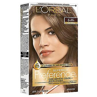L'oreal paris superior preference hair color, light brown 6, 1 kit