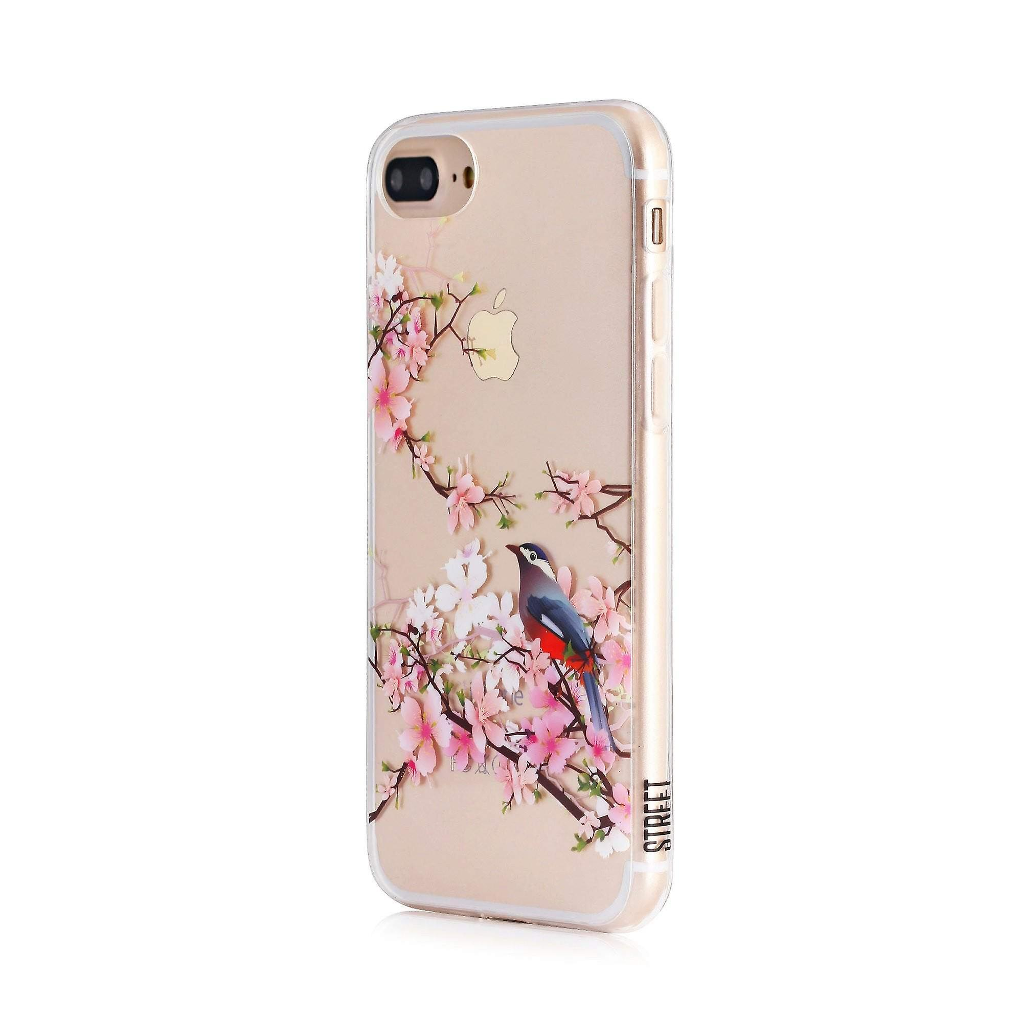 Printed Floral Bird Clear iPhone 8 Plus / 7 Plus Case