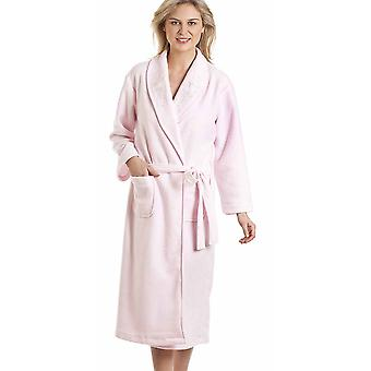 Ladies Elegance Embroidered Fleece Fleece Wrap Over Dressing Gown Nightwear Bathrobe 67201
