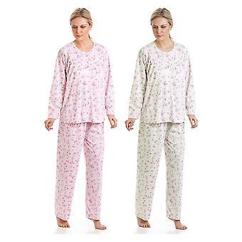 2-Pak damer i Bloom Kuddle Strik Floral Polycotton Pyjamas nattøj nattøj