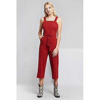 Louche Dawson Dungaree Jumpsuit Red