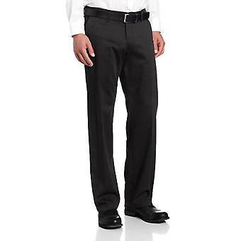 Lee Men's Comfort Waist Custom Straight Fit Flat Front Pant, Black, 42W x 32L