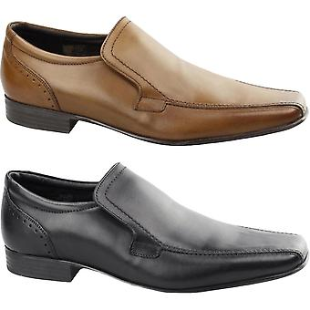 Ikon Mens Saxon Slip On Smooth Leather Chisel Toe Formal Smart Casual Shoes
