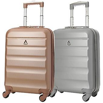 Aerolite (55x35x20cm) lightweight hard shell cabin hand luggage (rose gold + silver set)