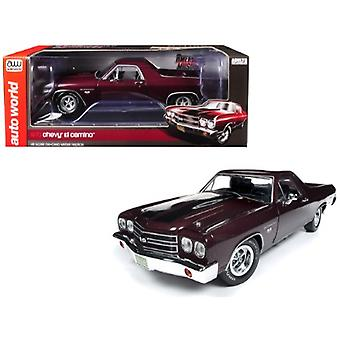 1970 Chevrolet El Camino SS Black Cherry 100th Anniversary Limited Edition to 1002 pieces Worldwide 1/18 Diecast Model Car by Autoworld