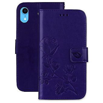 For iPhone XR case beskyttende rose-preget folio skinndeksel