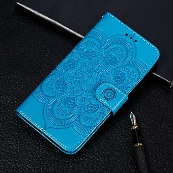För iPhone 11 Case Blue Mandala Emboss Mönster Folio Cover med kort -och cash slots, lanyard & kickstand