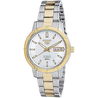 Seiko 5 Automatic White Dial Two Tone Silver Gold Stainless Steel Ladies Watch SNK892K1