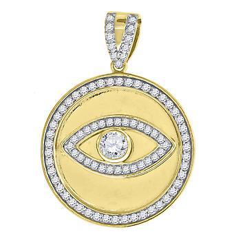 הטון הצהוב 925 סטרלינג כסף מסביב CZ הרשע העין קסם תליון שרשרת מודד 37.4 x 26.8 mm תכשיטים רחבים מתנות fo