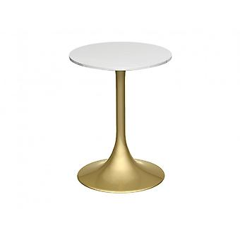 Gillmore Pedestal Side Table White Gloss And Brass