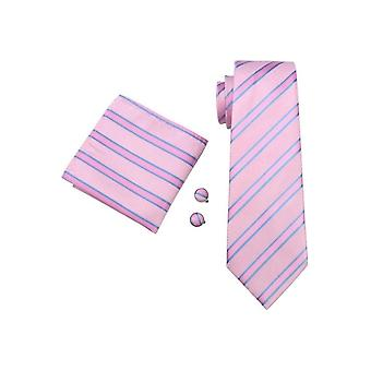 JSS Pink & Blue Striped Silk Neck Wedding Tie, Pocket Square & Cufflink Set