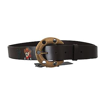Dolce & Gabbana Brown Leather Gold Buckle Horseshoe Belt