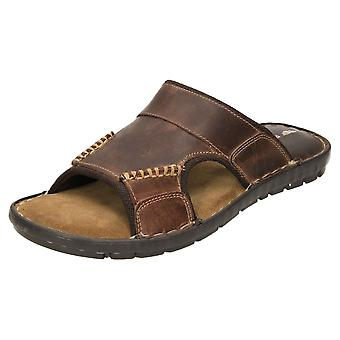Red Tape Leather Slip On Mules Flip Flops Sandals Brown