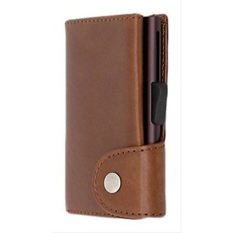 C-Secure Vegetable Tanned Leather Single Card Holder Wallet - Macchiato Tan