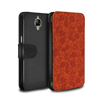 STUFF4 PU Leather Wallet Flip Case/Cover for OnePlus 3/3T/Orange/Leaf/Silhouette Pattern