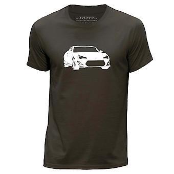 STUFF4 Men's Round Neck T-Shirt/Stencil Car Art / GT86/BRZ/Dark Brown