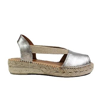 Toni Pons Etna Steel Grey Leather Womens Pull On Espadrille Shoes