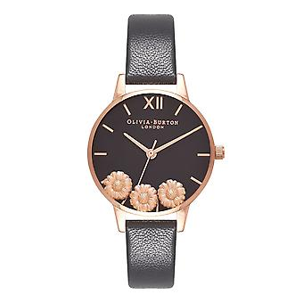 Olivia Burton Watches Ob16ch05 Dancing Daisy Black & Rose Gold Leather Ladies Watch
