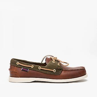 Sebago Trickey Mens Leather Deck Shoes Cuio/green Military