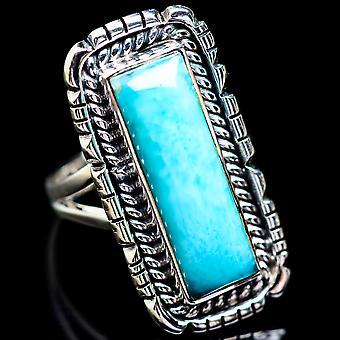 Large Larimar Ring Size 8 (925 Sterling Silver)  - Handmade Boho Vintage Jewelry RING2725