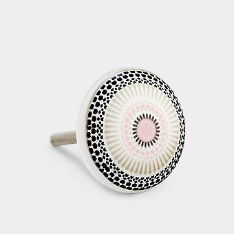 Ceramic Door Knob - Pink / Black - Positive Energy