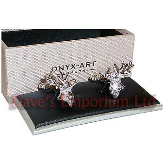 Stags Head Cufflinks Onyx Art - Gift Boxed - Deer Hunting Shoot Stag Cuff Link