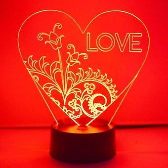 ELSKER teksten Floral hjerte farveskiftende LED akryl lys