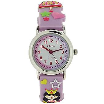 Ravel idő tanár 3D Princess design Lilac gumi szíj Girls Watch R 1513.37