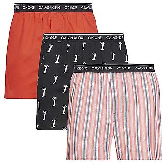 Calvin Klein CK One Slim Fit Woven Boxer 3-Pack, Numero 1/Adrenaline Rush/Variety St, X-Large