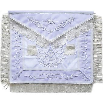 Masonic afgelopen meesterschort helemaal wit met franje