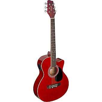 Stagg Auditorium guitare électro-acoustique - rouge