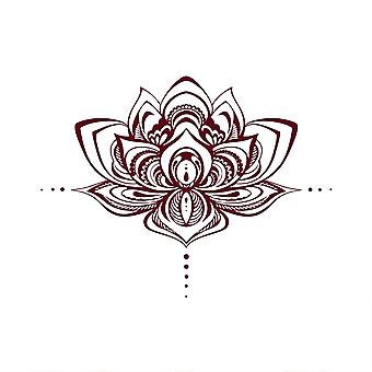 Wall sticker, removable lotus decoration sticker dark red, used as art wall sticker in bedroom and living room