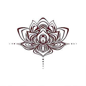 Veggklistremerke, avtagbart lotus dekorasjon klistremerke mørk rød, brukes som kunst vegg klistremerke i soverommet og stue