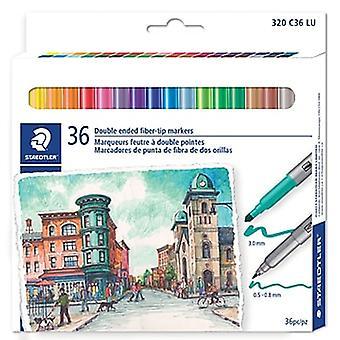 Staedtler 3200 Design Journey Set of 36 Felt-Tip Pens Double Tip 3.0 mm and 0.5 mm - 0.8 mm Assorted Colours