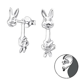 Rabbit - 925 Sterling Silver Ear Jackets & Double Earrings - W24270x
