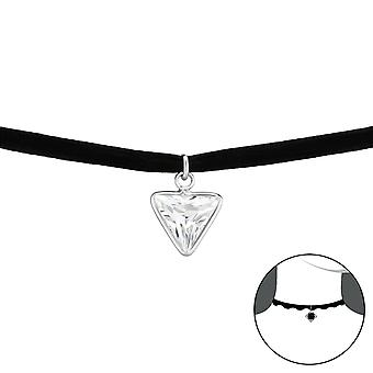 Triangle - 925 Sterling Silver + Velvet Chokers - W33980x