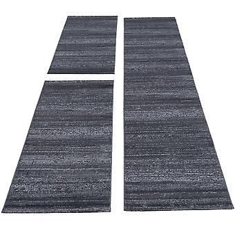 Carpet bed border short flor set rugs solid color runner set 3-piece grey