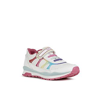 Geox Kids J Pavel Girl A Touch Fastening Trainer White/Multicolor