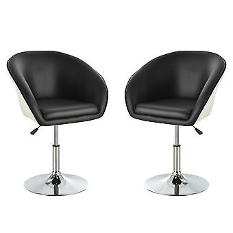 HOMCOM 2PCs Chairs 360° Swivel Bar Chair Adjustable Height Padded Seat PU Leather Stylish - Black