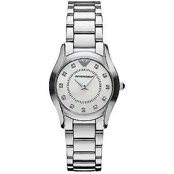 Emporio Armani AR3168 White Mother of Pearl Dial Diamond Ladies Watch